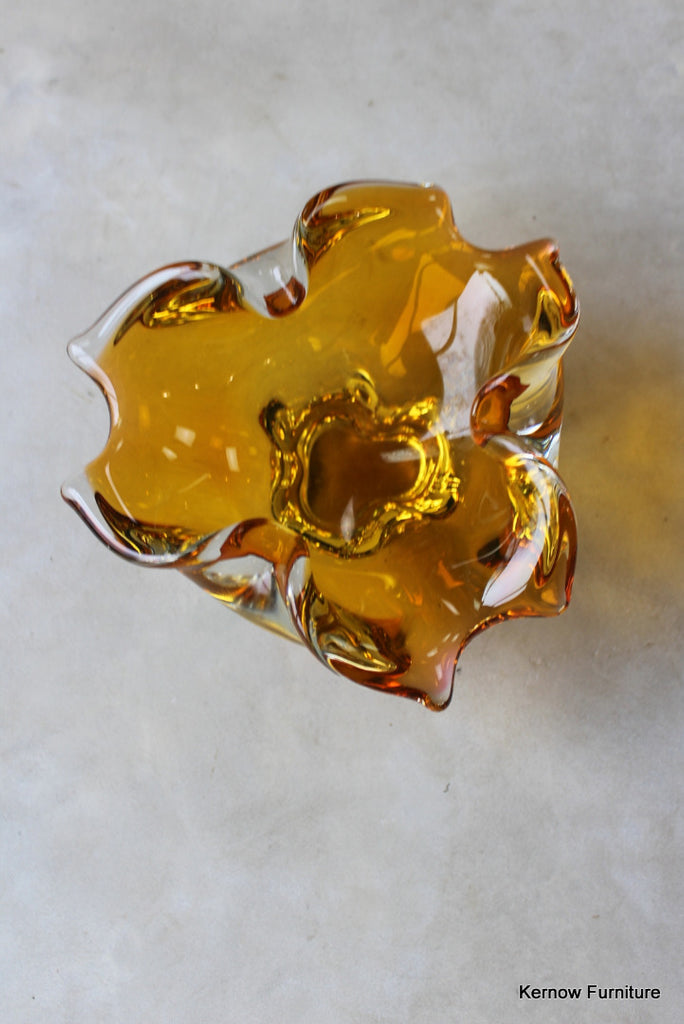 Amber Freeform Glass Bowl - vintage retro and antique furniture