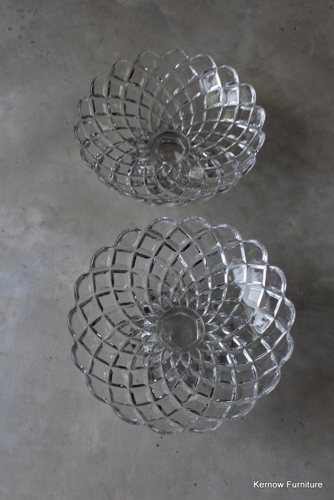 Pair Vintage Pressed Glass Compote
