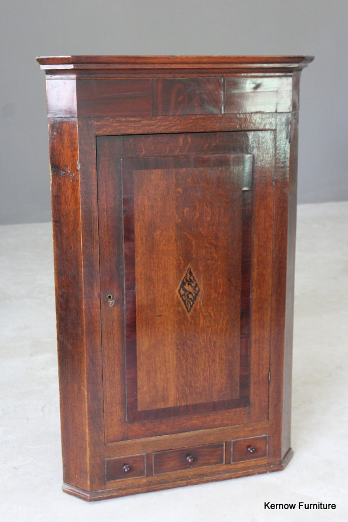 Antique Oak Corner Cupboard - vintage retro and antique furniture