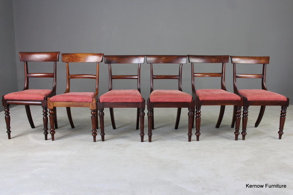 6 Antique Mahogany Bar Back Dining Chairs - vintage retro and antique furniture