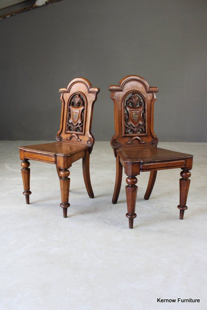 Pair Victorian Oak Hall Chairs - Kernow Furniture