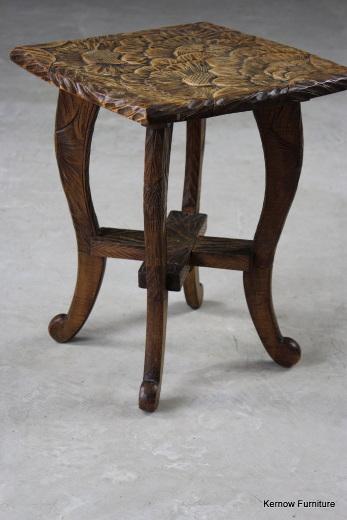 Carved Oriental Side Table - Kernow Furniture