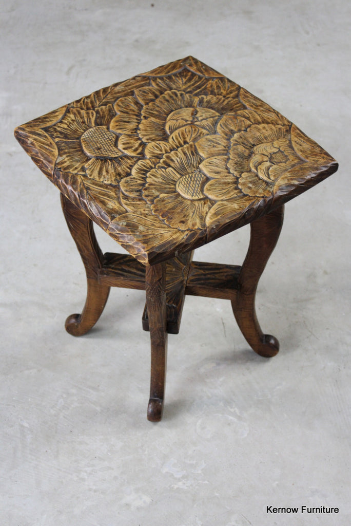 Carved Oriental Side Table