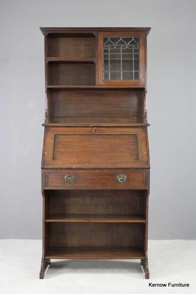 Arts & Crafts Oak Bureau Bookcase - vintage retro and antique furniture