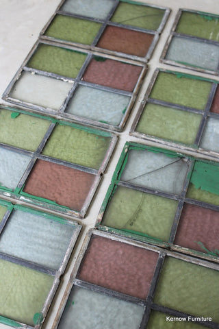 8 Small Reclaimed Leaded Panes of Coloured Glass - vintage retro and antique furniture