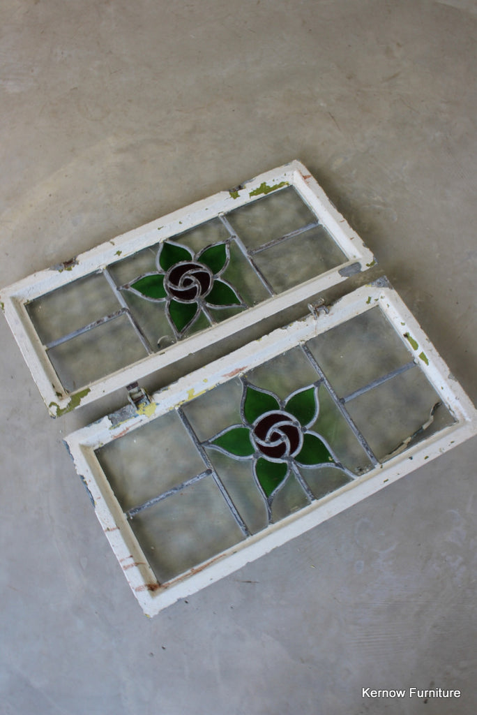Pair Reclaimed Stained Glass Windows