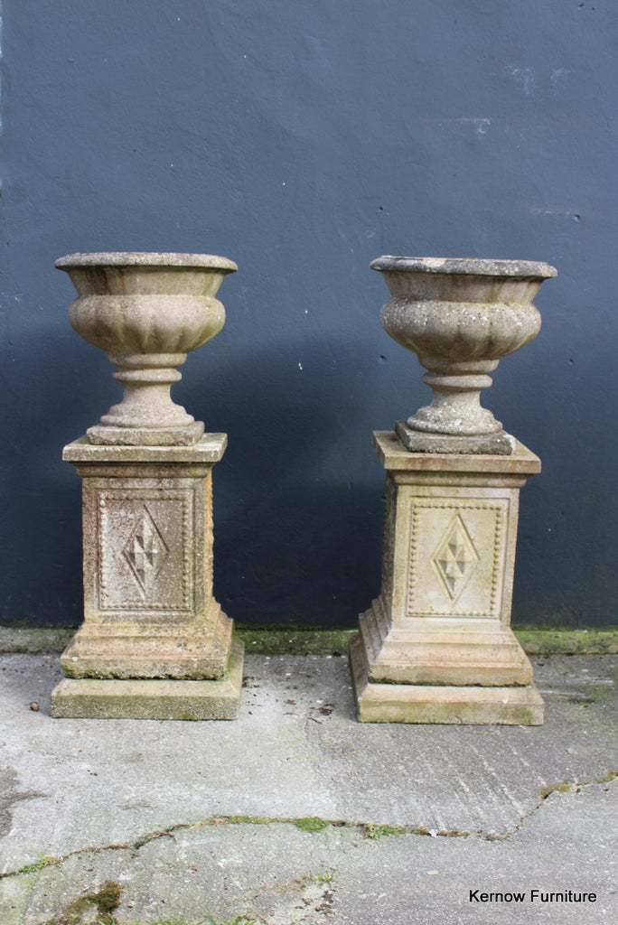Weathered Cast Composite Stone Urn & Plinth - Kernow Furniture