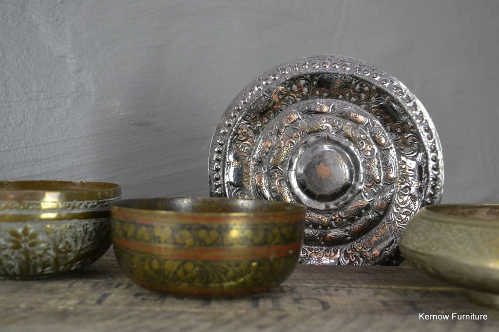 Collection of Eastern Brass Bowls - Kernow Furniture 100s vintage, retro & antique items in stock
