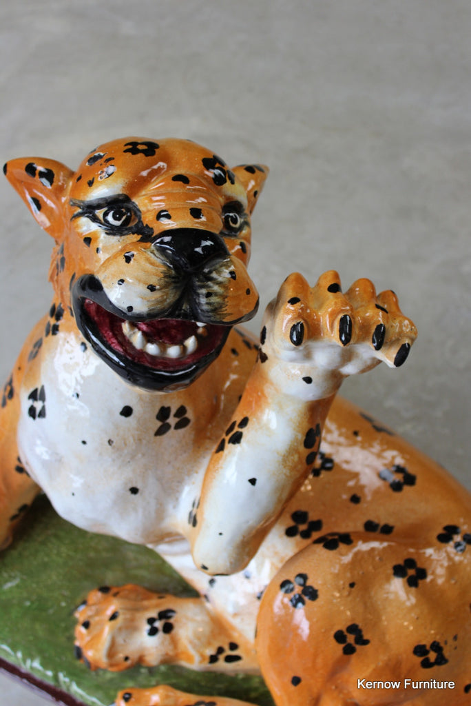 Large Majolica Leopard Cub - Kernow Furniture