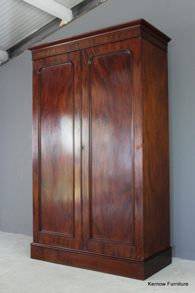 Antique Mahogany Double Wardrobe - vintage retro and antique furniture