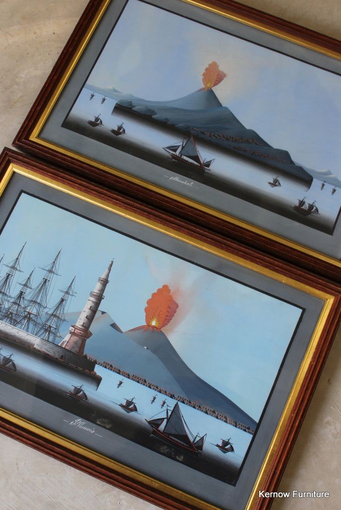 Framed Eruption of Vesuvius & Stromboli - Kernow Furniture