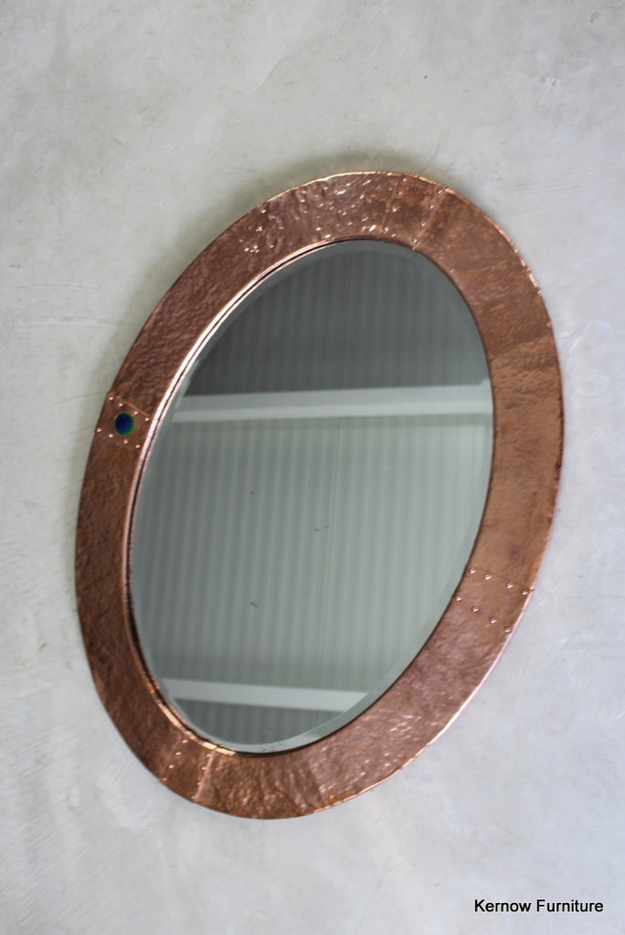 Arts & Crafts Oval Copper Mirror - vintage retro and antique furniture