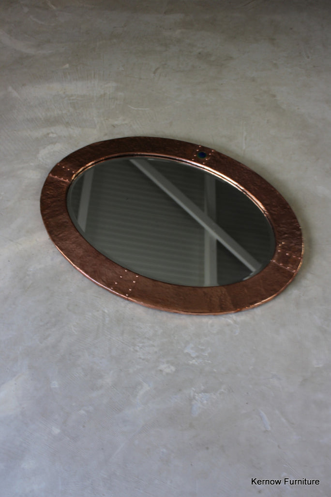 Arts & Crafts Oval Copper Mirror - Kernow Furniture