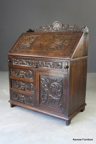 Carved Oak Green Man Writing Bureau - Kernow Furniture
