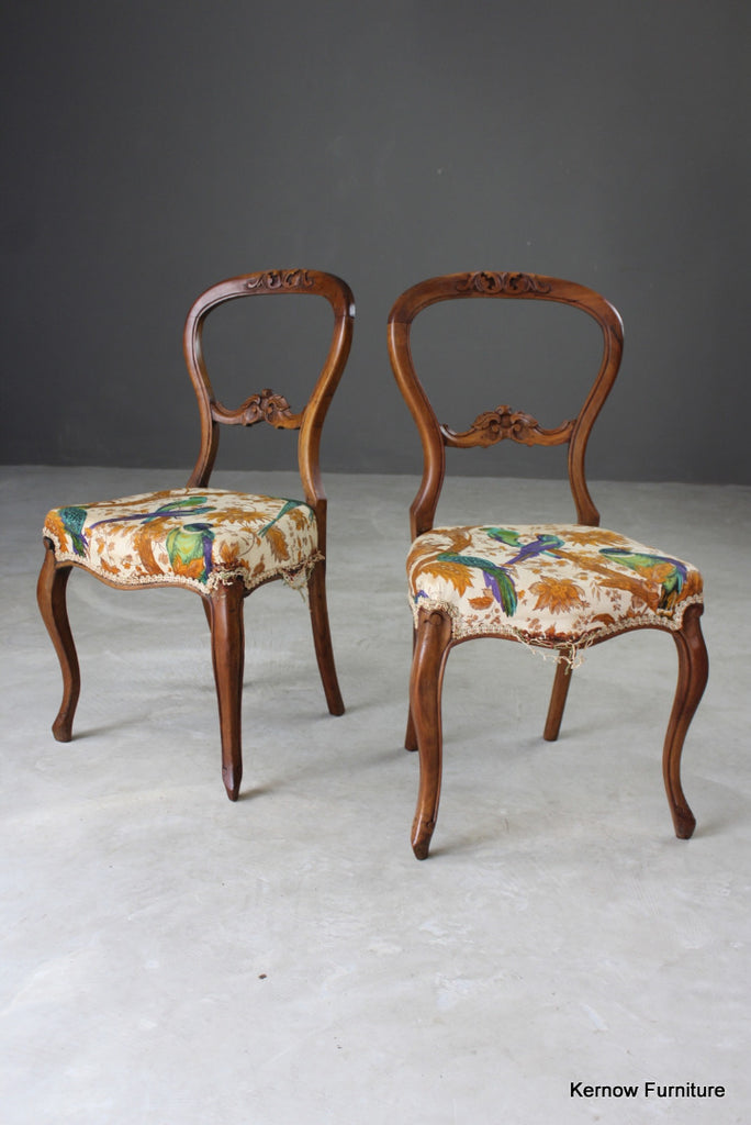 Pair French Balloon Back Dining Chairs