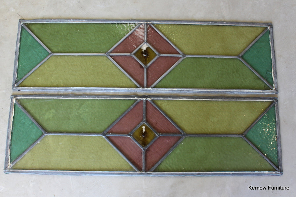 Pair Large Stained Glass Panes - Kernow Furniture