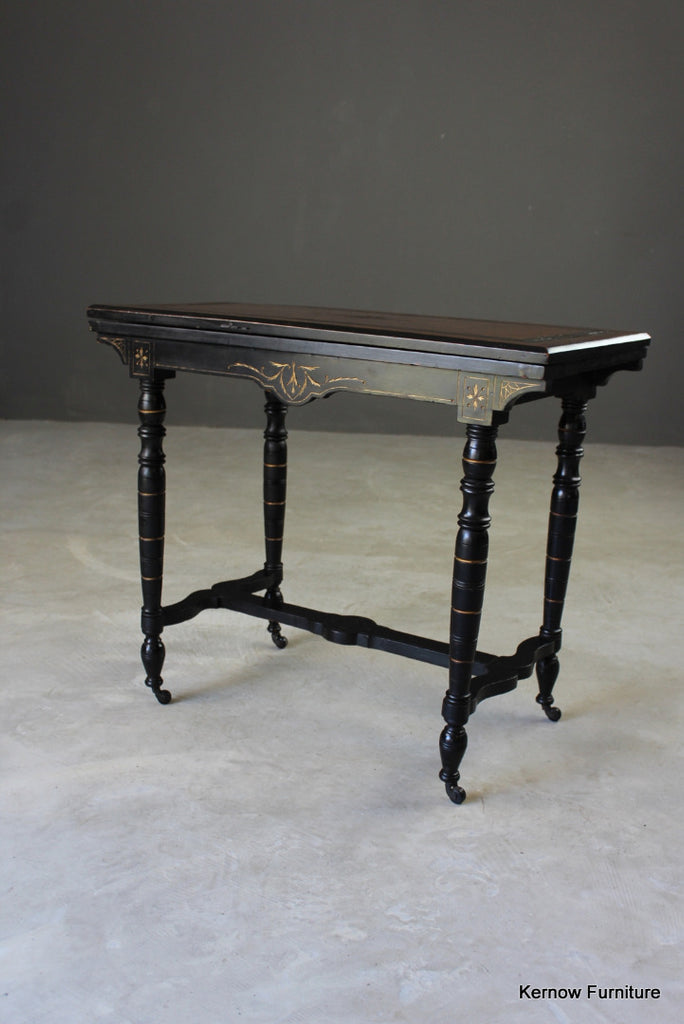Victorian Ebonised Aesthetic Card Table