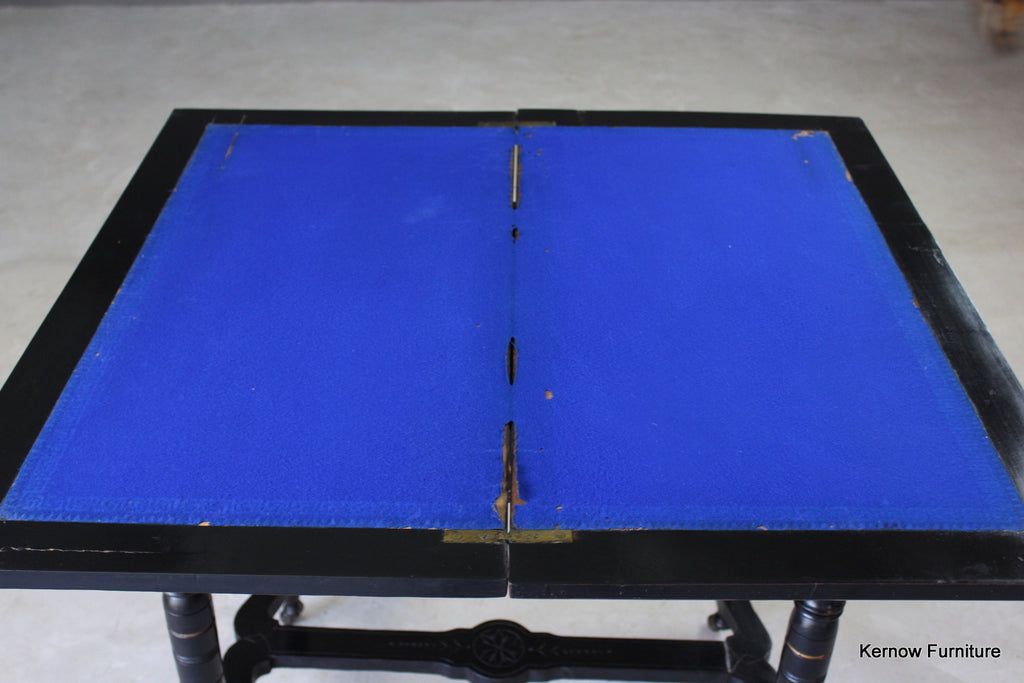 Victorian Ebonised Aesthetic Card Table - Kernow Furniture