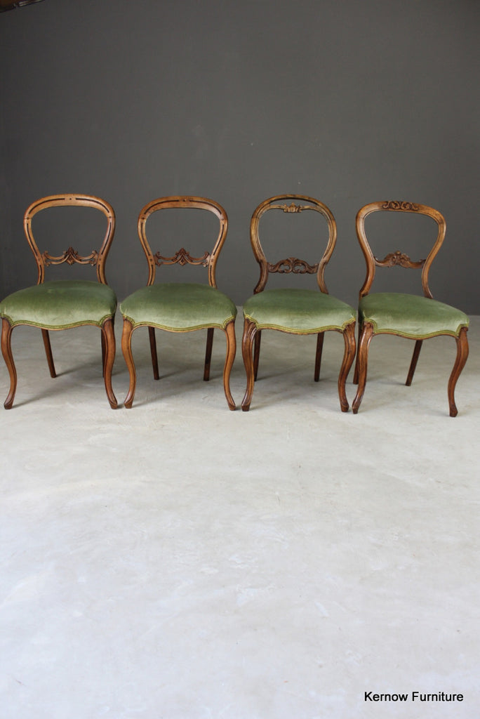 4 Antique Balloon Back Dining Chairs - Kernow Furniture