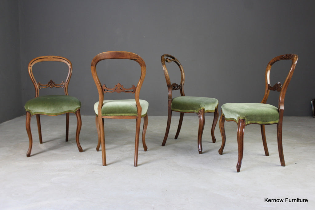 4 Antique Balloon Back Dining Chairs - vintage retro and antique furniture