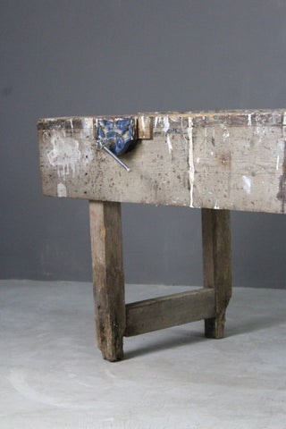 Large Rustic Pine Work Bench