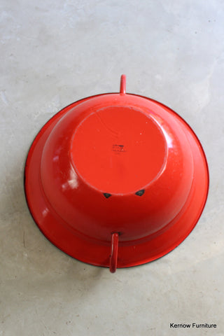 Large Red & Grey Enamel Pan - Kernow Furniture