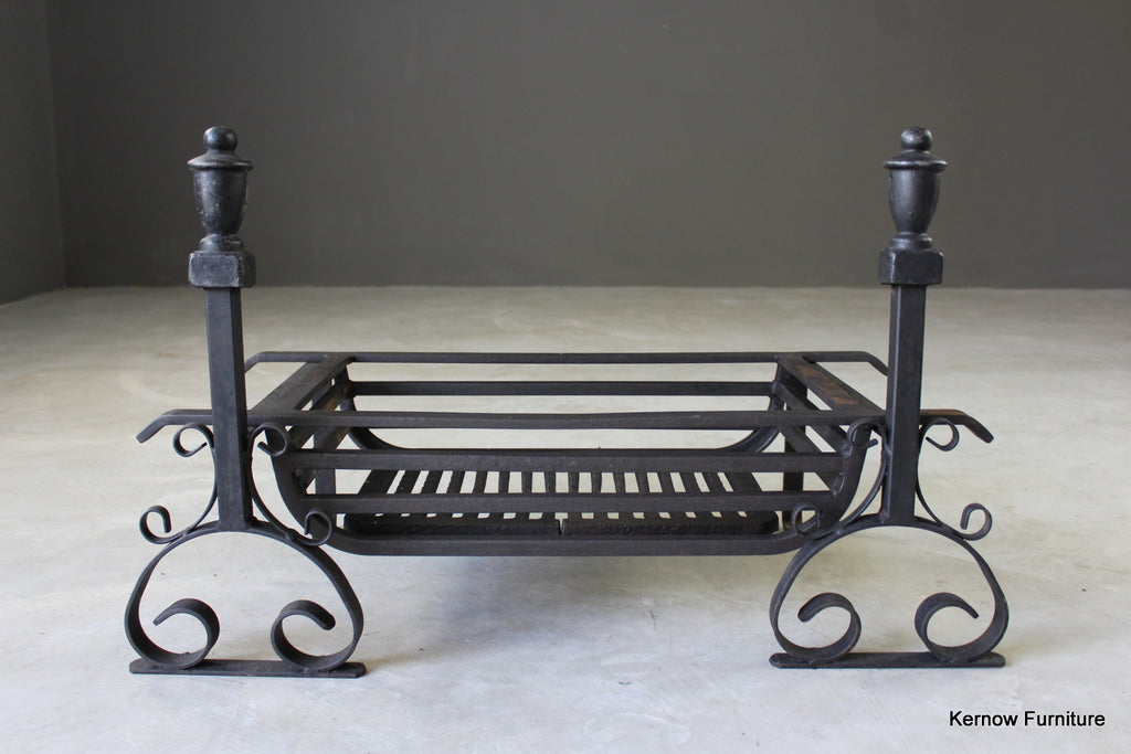 Large Antique Style Cast Iron Fire Grate - Kernow Furniture