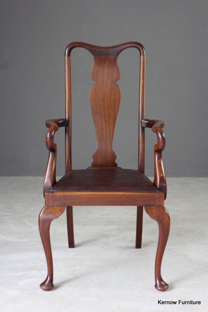 Mahogany Queen Anne Style Carver Chair - Kernow Furniture