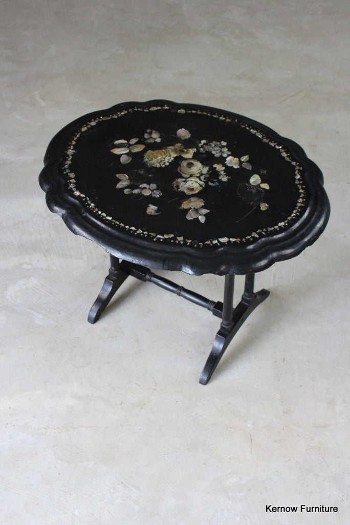 Mother of Pearl Papier Mache Side Table