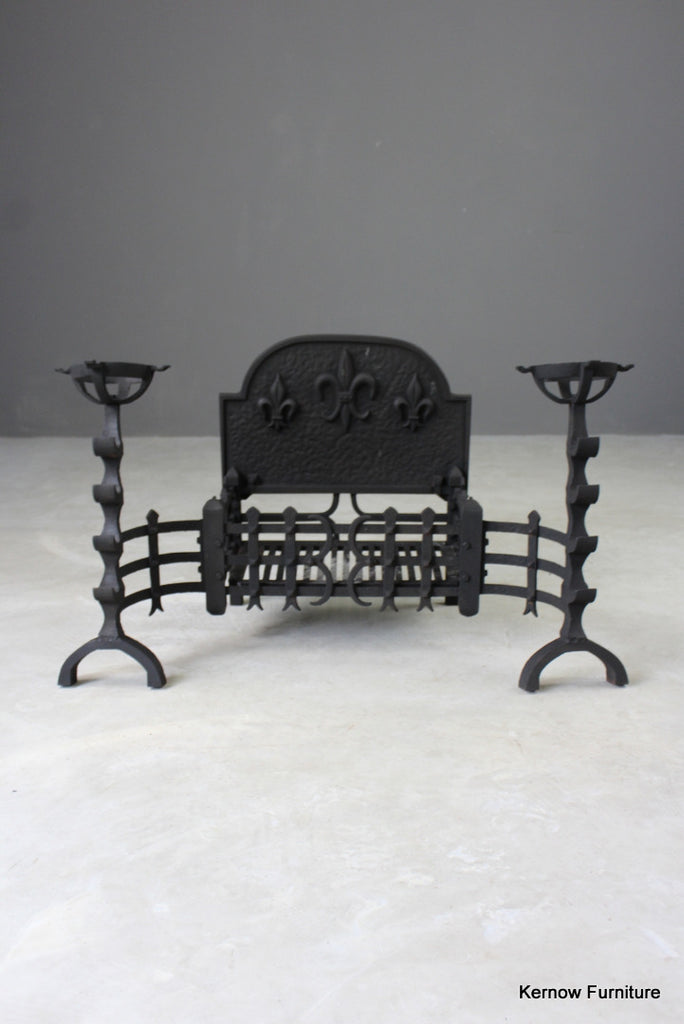 Large Cast Iron Fire Basket & Mulling Fire Dogs