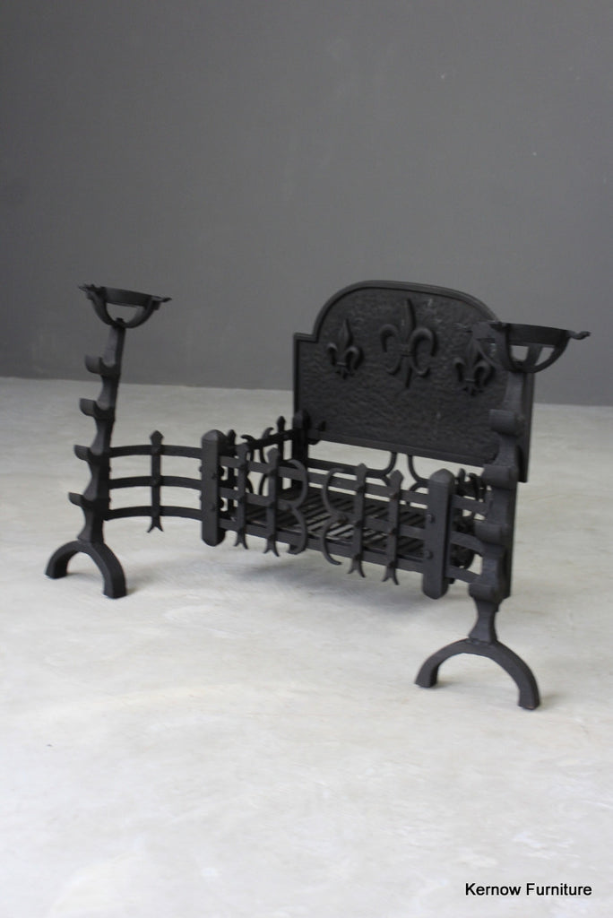 Large Cast Iron Fire Basket & Mulling Fire Dogs - Kernow Furniture