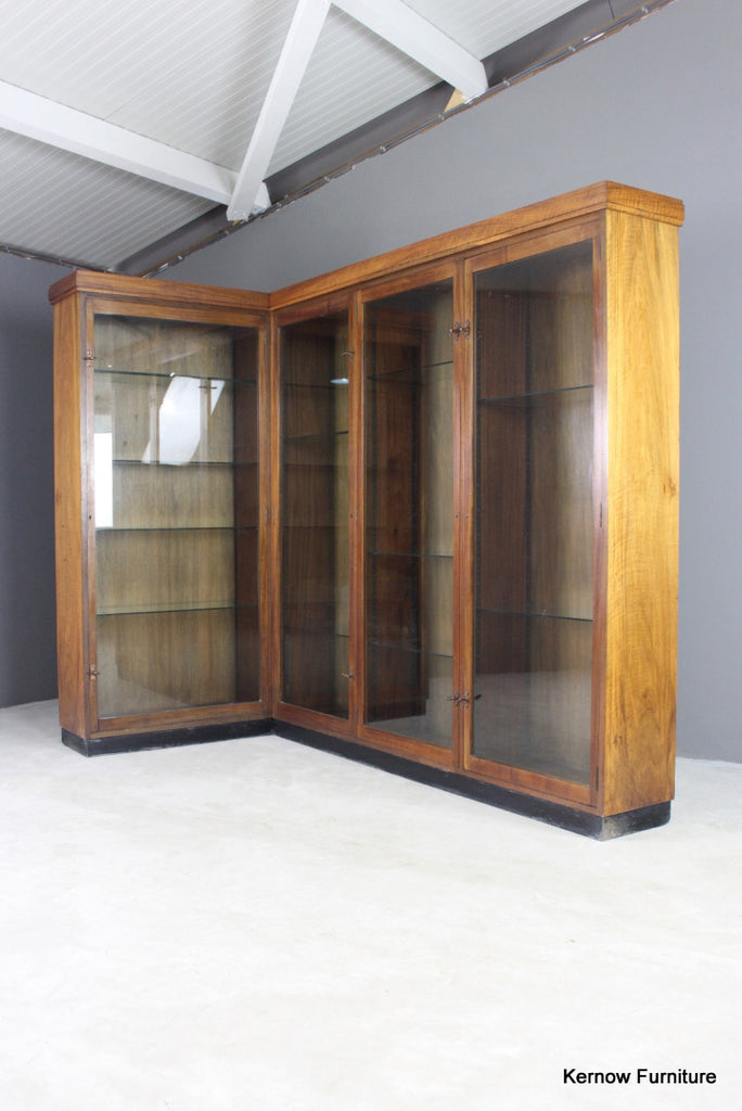 Large Walnut Glazed Display Cabinet - Kernow Furniture