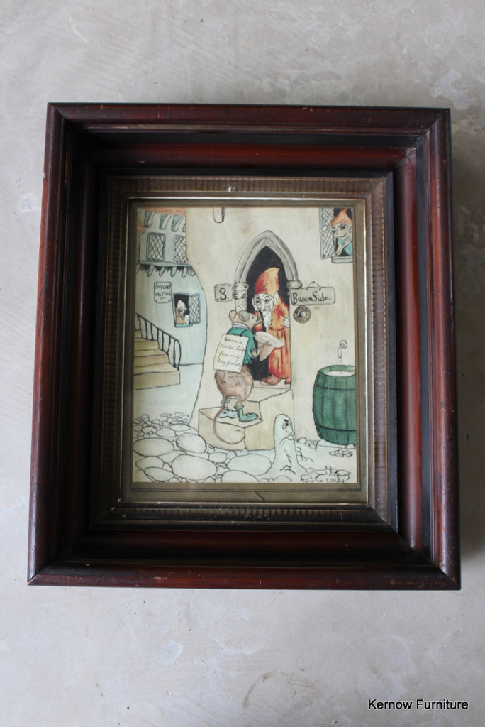 Vintage Painting in Deep Wooden Frame