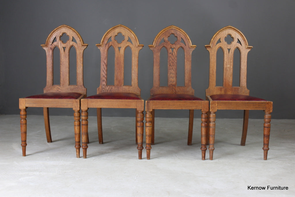 4 Oak Gothic Revival Dining Chairs - vintage retro and antique furniture