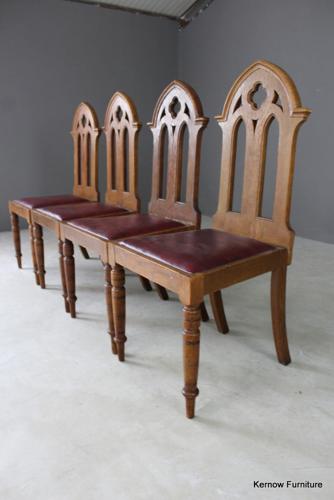4 Oak Gothic Revival Dining Chairs (2) - vintage retro and antique furniture