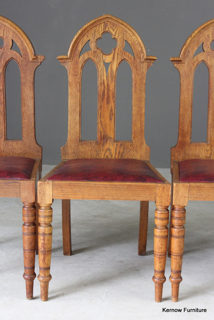 4 Oak Gothic Revival Dining Chairs (3) - vintage retro and antique furniture