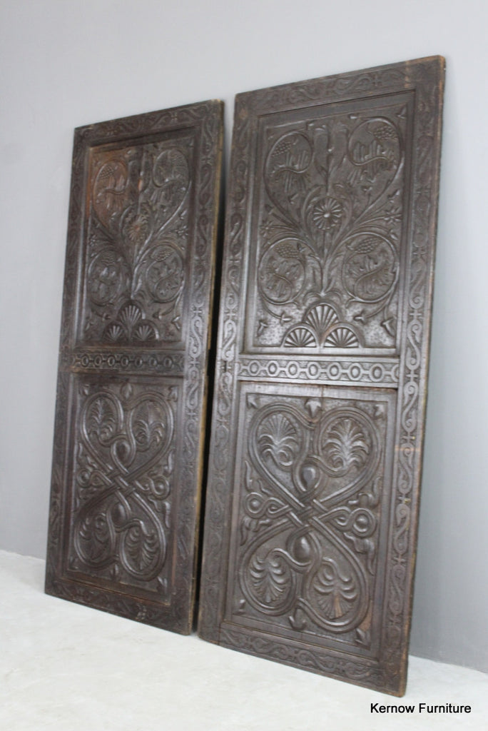 Pair Antique Carved Panelled Doors - Kernow Furniture