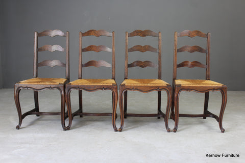 Set 4 French Ladderback Dining Chairs