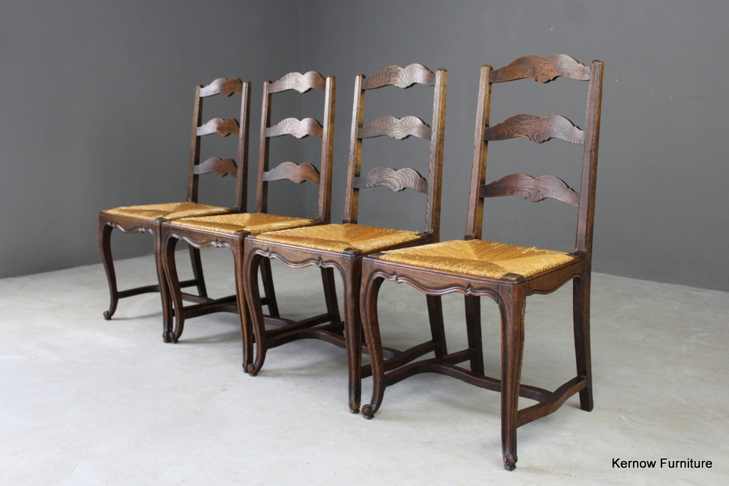 Set 4 French Ladderback Dining Chairs - Kernow Furniture