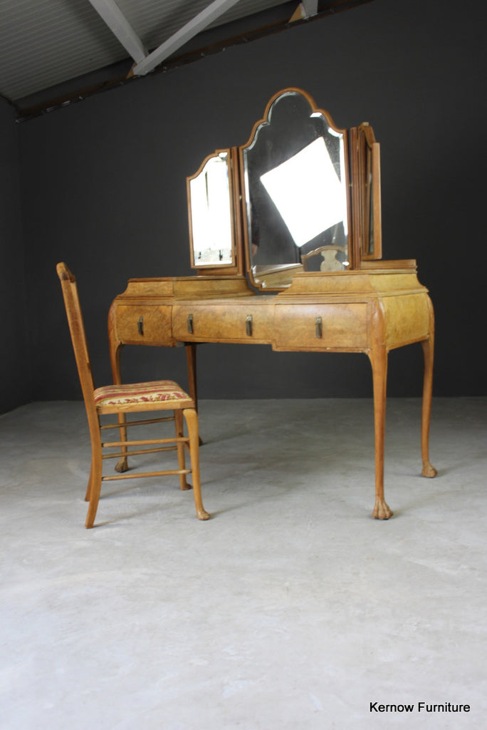 French Burr Maple Dressing Table - Kernow Furniture
