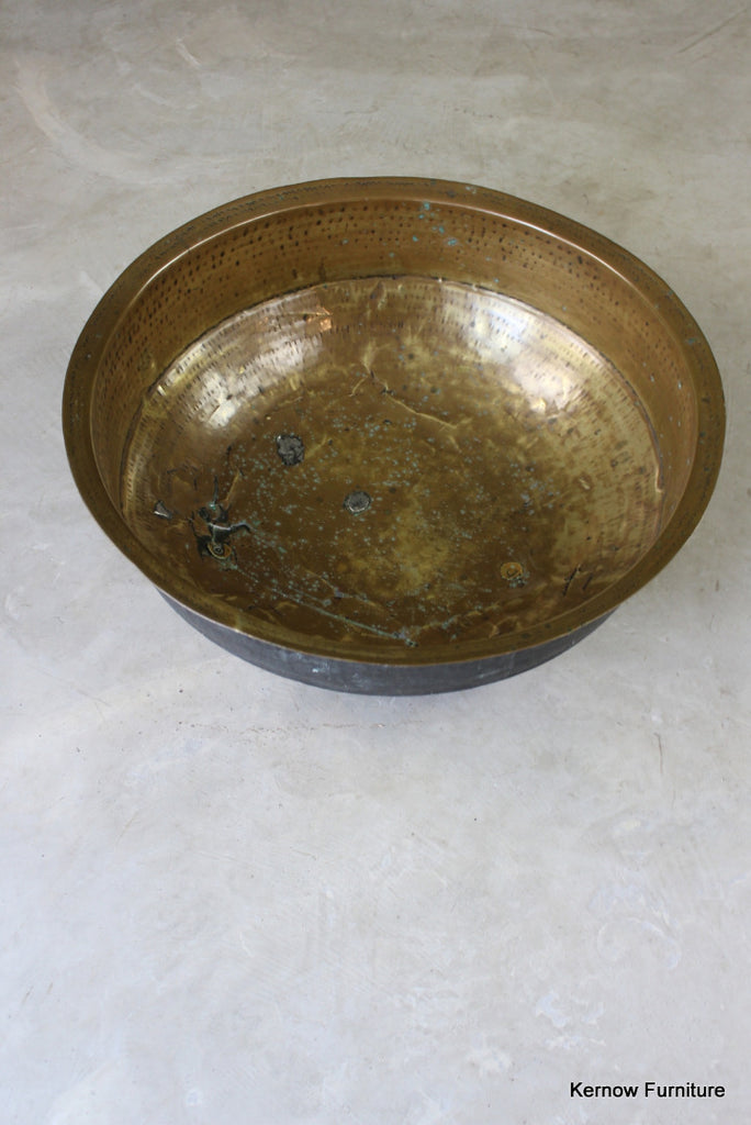 Large Hammered Brass Bowl