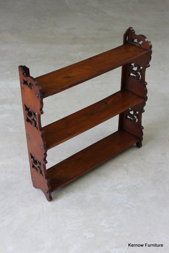 Victorian Walnut Pierced Wall Shelves