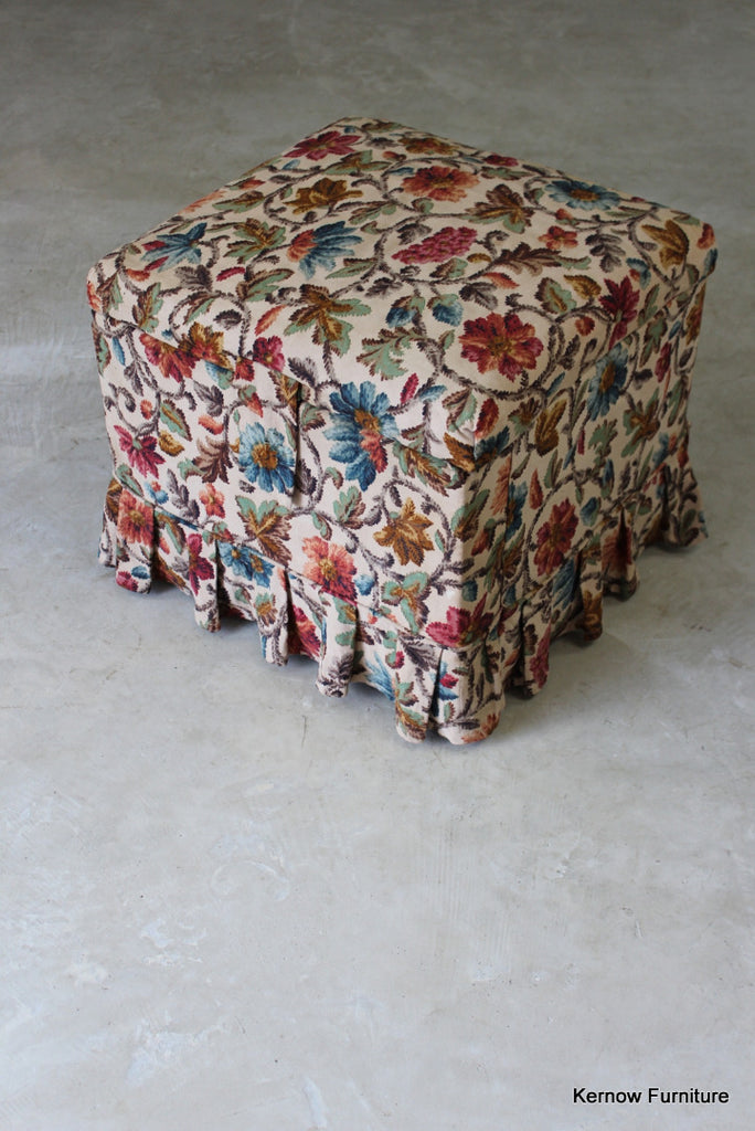 Square Floral Upholstered Ottoman
