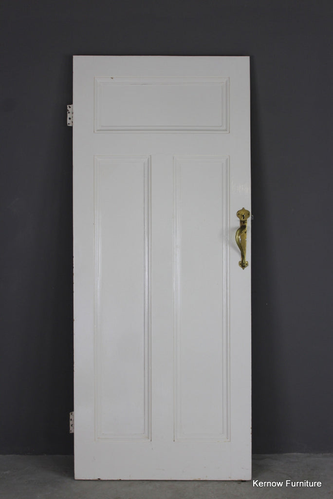 Early 20th Century Pine Door with Brass Handle