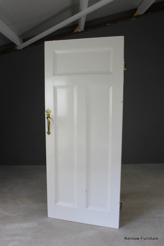 Early 20th Century Pine Door with Brass Handle - Kernow Furniture