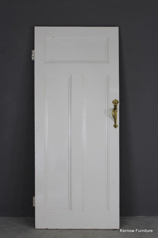 Early 20th Century Pine Door with Brass Handle (3)