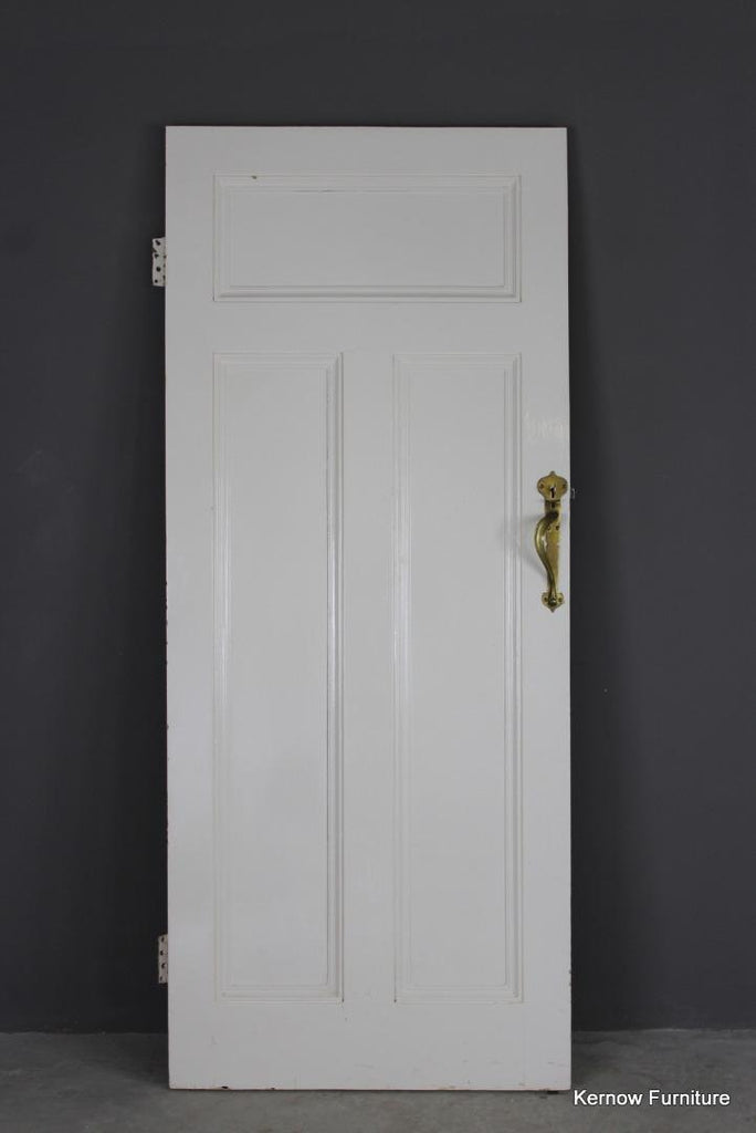 Early 20th Century Pine Door with Brass Handle (4)