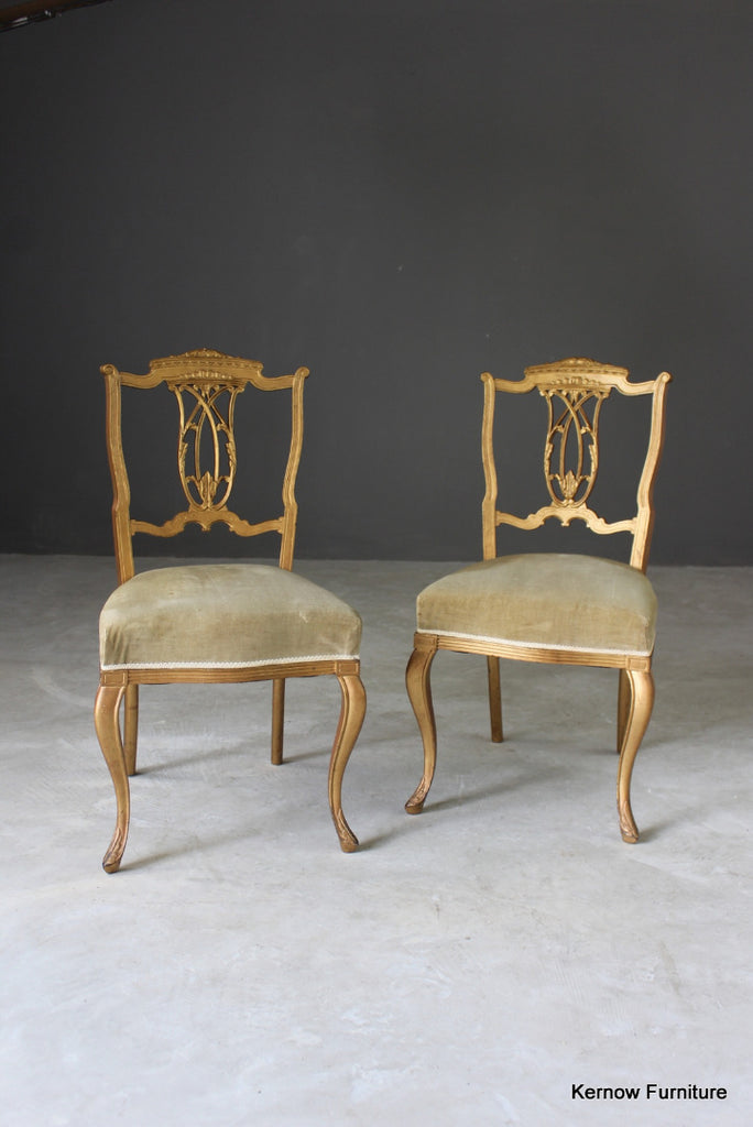 Pair Edwardian Gilt Painted Side Chairs - Kernow Furniture