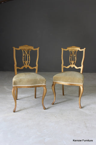 Pair Edwardian Gilt Painted Side Chairs