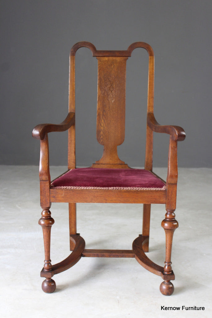 Inlaid Oak Carver Chair